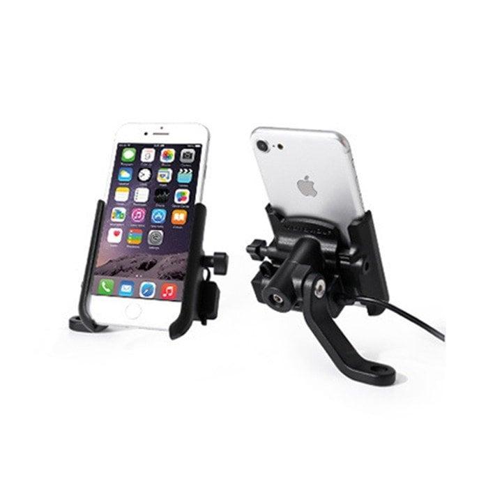 Giá đỡ điện thoại có sạc gắn chân kính xe máy Motowolf
