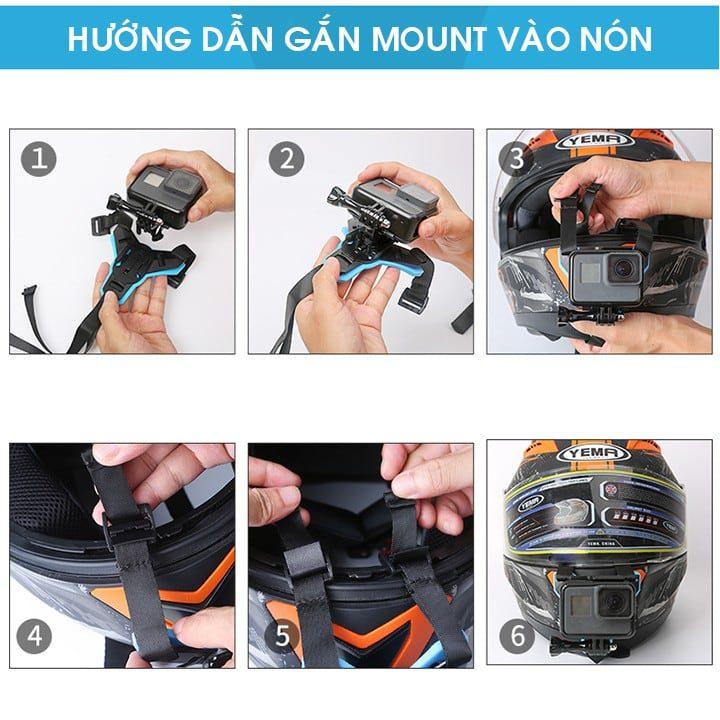 Mount gắn cằm GoPro nón bảo hiểm FullFace Telesin