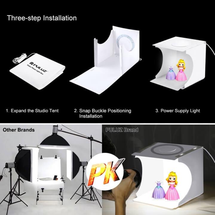 Hộp chụp sản phẩm mini tích hợp đèn LED Puluz