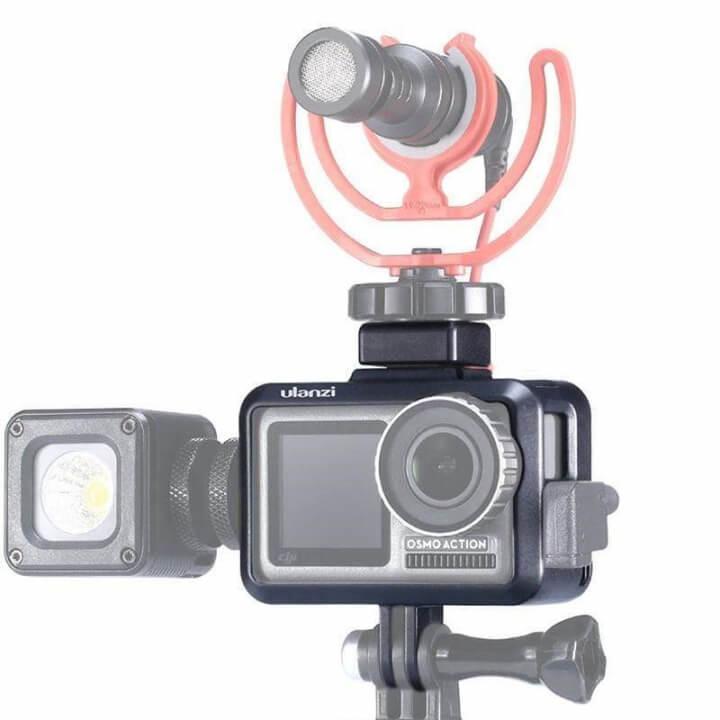 Khung Vlog Osmo Action gắn LED - Mic Ulanzi OA-7