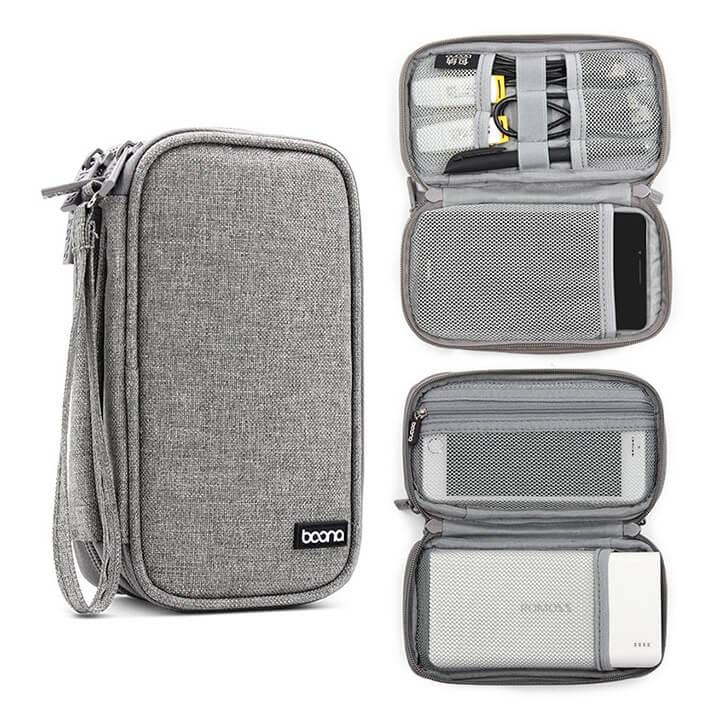 Túi 2 ngăn đựng pin dự phòng - Điện thoại - Sạc cáp Baona