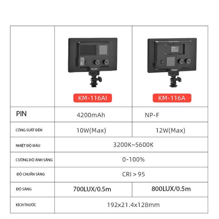 Đèn LED chụp hình quay video tích hợp pin Kingma